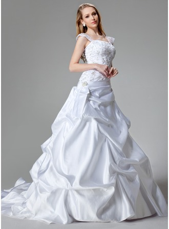 A-Line/Princess Chapel Train Satin Wedding Dress With Embroidered Sequins