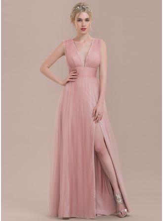 A-Linie/Princess-Linie V-Ausschnitt Bodenlang Tüll Brautjungfernkleid mit Rüschen