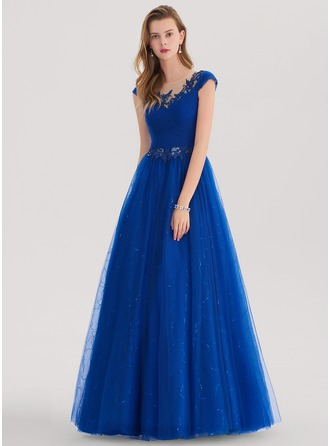 Ball-Gown Scoop Neck Floor-Length Tulle Prom Dress With Ruffle Lace Sequins