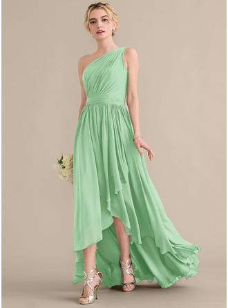 A-Line One-Shoulder Asymmetrical Chiffon Bridesmaid Dress With Cascading Ruffles