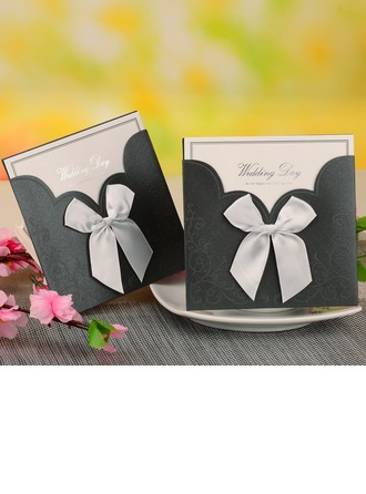 Bride & Groom Style Wrap & Pocket Invitation Cards With Bows (Set of 12)