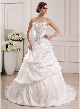 Duchesse-Linie Herzausschnitt Hof-schleppe Taft Brautkleid mit Bestickt Rüschen Perlen verziert Pailletten