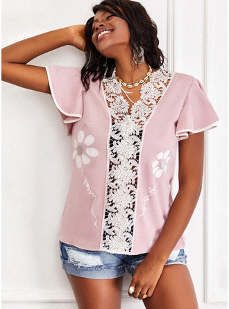 Floral Lace Print Sequins V-Neck Short Sleeves Casual Blouses