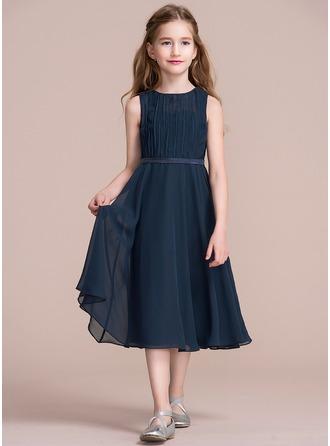 A-Linie/Princess-Linie U-Ausschnitt Wadenlang Chiffon Kleid für junge Brautjungfern mit Rüschen