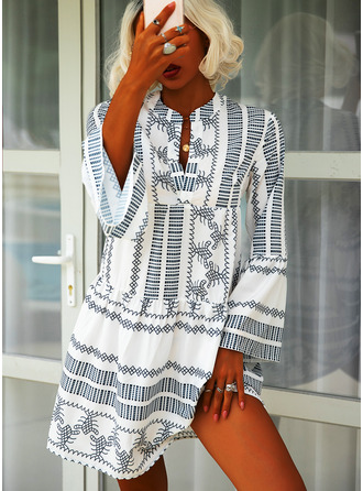 Print Shift Long Sleeves Midi Boho Casual Vacation Tunic Dresses