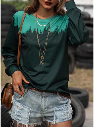 Forest Color Block Print Round Neck Long Sleeves Casual T-shirt