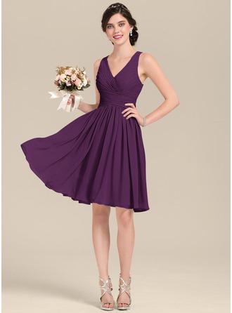 A-Line V-neck Knee-Length Chiffon Bridesmaid Dress With Ruffle