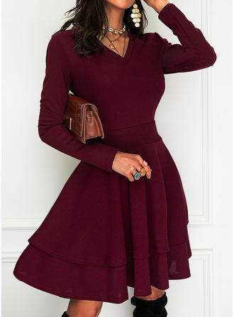 Solid A-line Long Sleeves Mini Party Elegant Skater Dresses