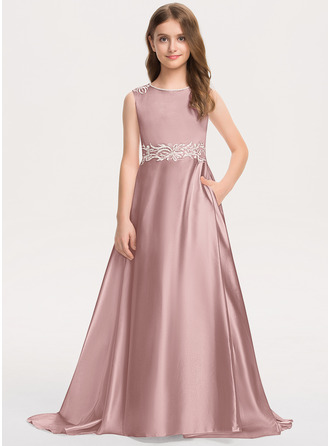 A-Line Scoop Neck Sweep Train Satin Lace Junior Bridesmaid Dress With Bow(s) Pockets