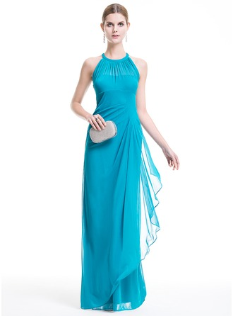 Sheath/Column Scoop Neck Floor-Length Chiffon Evening Dress With Cascading Ruffles
