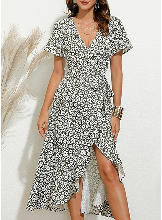 Floral Print A-line Short Sleeves Midi Casual Elegant Skater Wrap Dresses