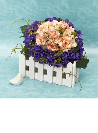 Cute Round Satin Bridal Bouquets -