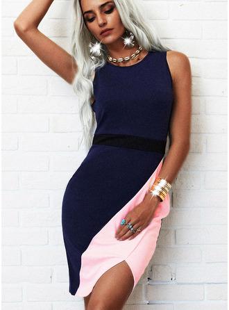 Colorido Bainha Sem mangas Midi Elegante Vestidos na Moda