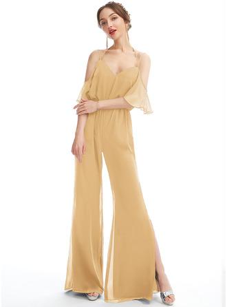V-neck Floor-Length Bridesmaid Dress With Ruffle
