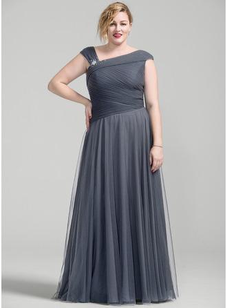 Vestidos princesa/ Formato A Longos Tule Vestido para a mãe da noiva com Pregueado Beading lantejoulas