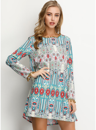 Print Shift Long Sleeves Mini Boho Casual Vacation Tunic Dresses