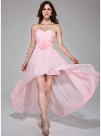 A-Line/Princess Sweetheart Asymmetrical Chiffon Holiday Dress With Ruffle Flower(s)