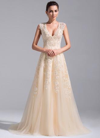 A-Linie/Princess-Linie V-Ausschnitt Hof-schleppe Tüll Brautkleid mit Perlen verziert Applikationen Spitze Pailletten