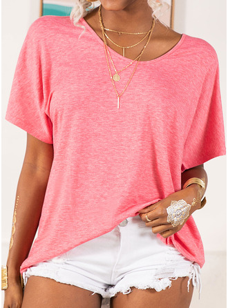 Solid V-Neck Short Sleeves Basic Casual T-shirt