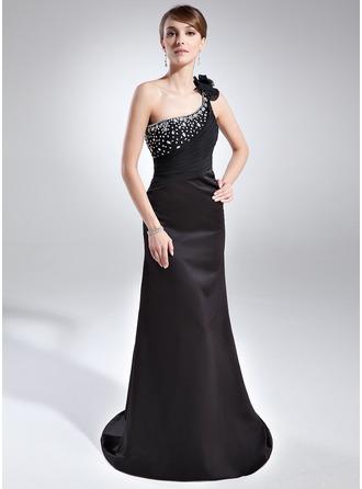 Sheath/Column One-Shoulder Court Train Satin Evening Dress With Ruffle Beading