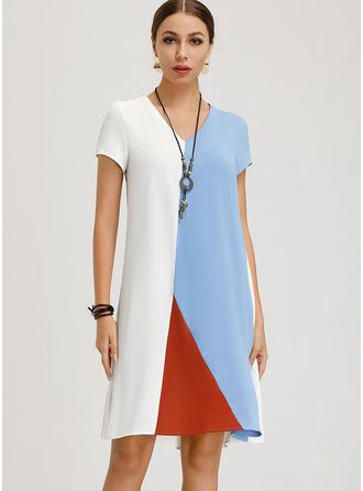 Color Block Shift Short Sleeves Midi Casual T-shirt Dresses