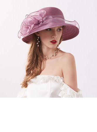 Ladies' Classic/Elegant/Simple Organza With Flower Beach/Sun Hats/Kentucky Derby Hats/Tea Party Hats