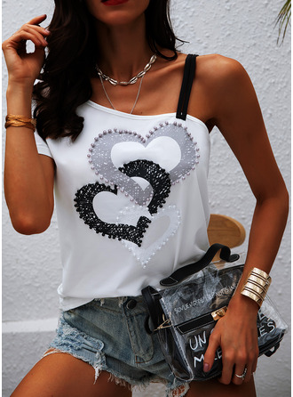 Print One Shoulder Short Sleeves Casual