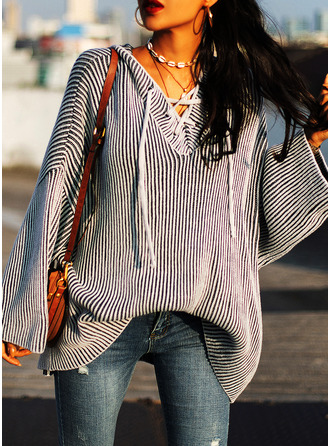 Hooded Casual Solid Ribbed Sweaters