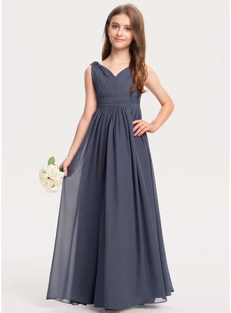 A-Linie V-Ausschnitt Bodenlang Chiffon Kleid für junge Brautjungfern mit Rüschen