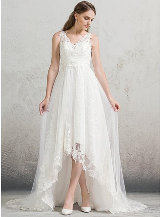 A-Line/Princess V-neck Asymmetrical Tulle Lace Wedding Dress