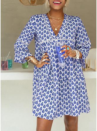 Print Shift Flare Sleeve Long Sleeves Mini Casual Vacation Tunic Dresses