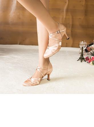 De mujer Satén Tacones Sandalias Salón Danza latina Estilo Moderno Fiesta Zapatos de danza