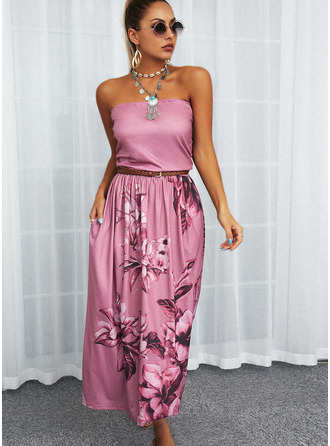 Floral Estampado Vestido linha-A Sem mangas Maxi Casual Skatista Vestidos na Moda
