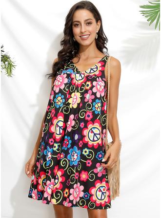 Floral Print Shift Sleeveless Mini Boho Casual Vacation Tank Dresses