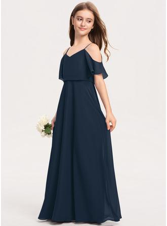 Çan V yaka Uzun Etekli Şifon Küçük Nedime Elbisesi