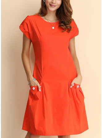 Solid Shift Cap Sleeve Midi Casual Dresses