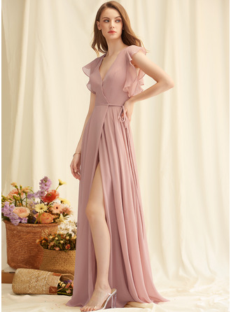A-line V-Neck Chiffon Chiffon Dresses With Split Front