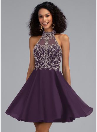A-Line High Neck Short/Mini Chiffon Homecoming Dress With Beading