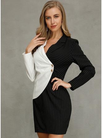 Color Block Fodral Långa ärmar Mini Elegant Modeklänningar