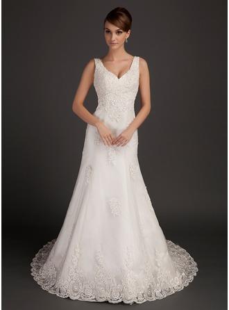 Vestidos princesa/ Formato A Decote V Cauda longa Tule Vestido de noiva com Beading Apliques de Renda
