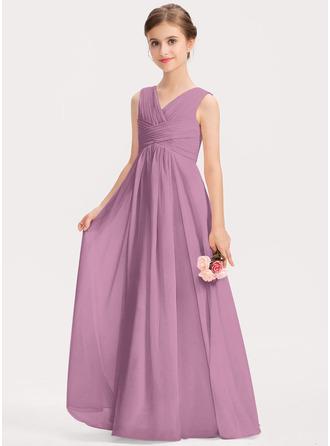 A-Line V-neck Floor-Length Chiffon Junior Bridesmaid Dress With Ruffle
