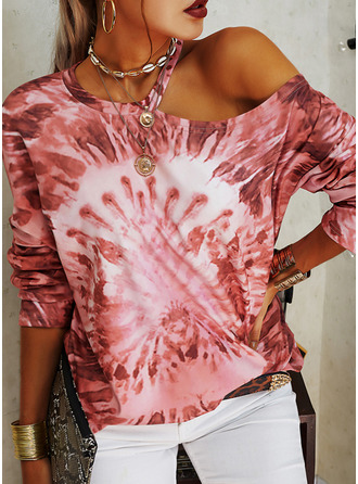 Tie Dye One Shoulder Long Sleeves Casual Blouses