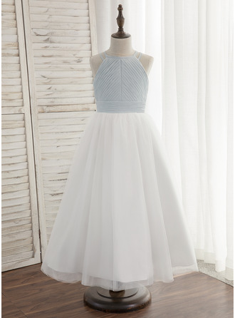 A-Line/Princess Ankle-length Flower Girl Dress - Chiffon/Tulle Sleeveless Halter With Pleated