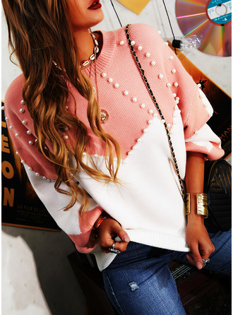 Round Neck Casual Beaded Color Block Sweaters