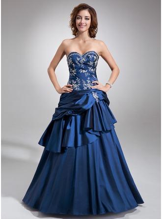 Duchesse-Linie Herzausschnitt Bodenlang Taft Quinceañera Kleid (Kleid für die Geburtstagsfeier) mit Bestickt Perlen verziert Gestufte Rüschen