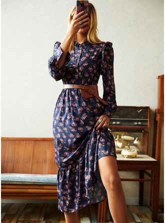 Print Sheath Long Sleeves Midi Casual Dresses