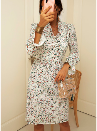 Knee Length V neck Polyester Button/Print 3/4 Sleeves Fashion Dresses