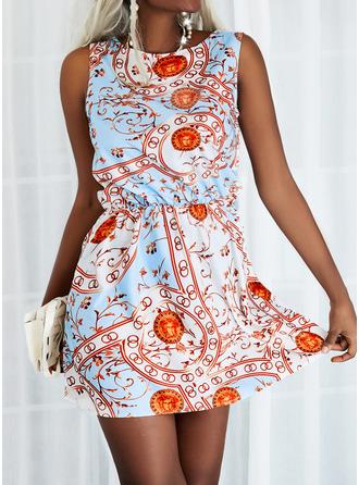 Print A-line Sleeveless Mini Boho Casual Skater Dresses