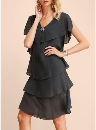 A-line Cap Sleeve Midi Dresses