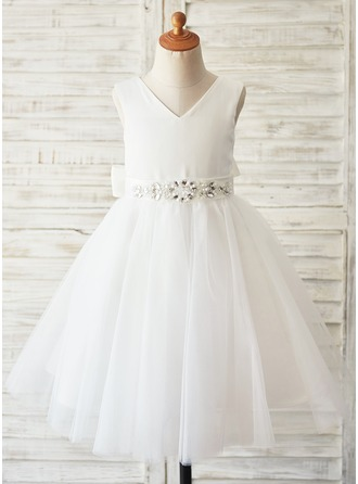 A-Line/Princess Knee-length Flower Girl Dress - Satin/Tulle Sleeveless Scoop Neck With Beading/Rhinestone (Undetachable sash)